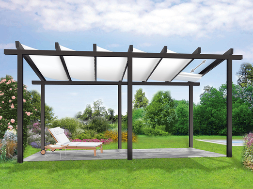 sonnenschutz pergola mit sonnensegel unterspannung. Black Bedroom Furniture Sets. Home Design Ideas