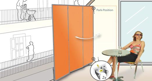 windschutz balkon mit paravent sonnensegel markise. Black Bedroom Furniture Sets. Home Design Ideas